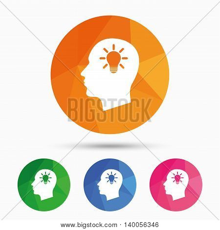 Head with lamp bulb sign icon. Male human head idea symbol. Triangular low poly button with flat icon. Vector