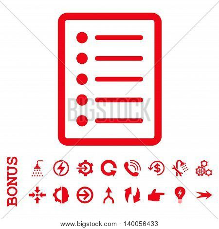 List Page vector icon. Image style is a flat iconic symbol, red color, white background.
