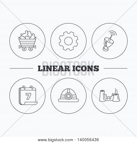 Antenna, minerals and engineering helm icons. Factory linear sign. Flat cogwheel and calendar symbols. Linear icons in circle buttons. Vector