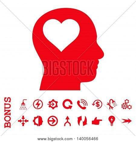 Lover Head vector icon. Image style is a flat iconic symbol, red color, white background.