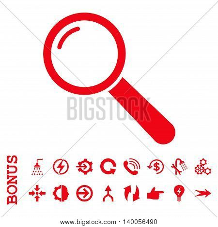 Magnifier vector icon. Image style is a flat iconic symbol, red color, white background.