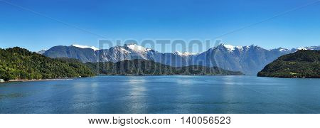 Panoramic view of Chilean fjords, Patagonia, Chile, South America.