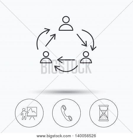 Teamwork, presentation and phone call icons. Hourglass linear sign. Linear icons in circle buttons. Flat web symbols. Vector
