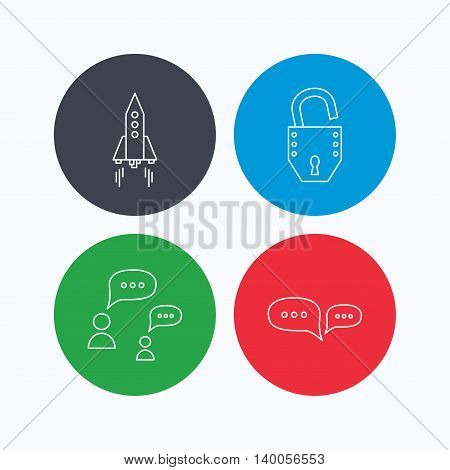 Rocket, chat speech bubble and open lock icons. Linear icons on colored buttons. Flat web symbols. Vector