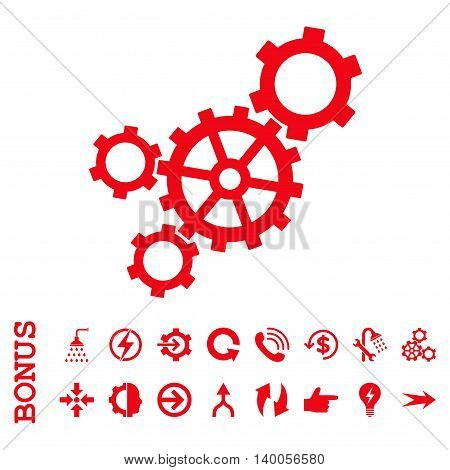 Mechanism vector icon. Image style is a flat pictogram symbol, red color, white background.