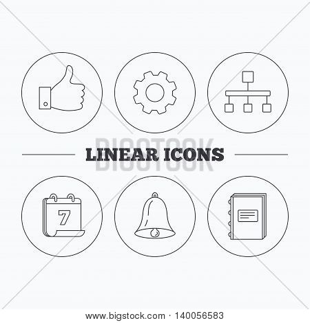 Hierarchy, like and bell icons. Book linear sign. Flat cogwheel and calendar symbols. Linear icons in circle buttons. Vector