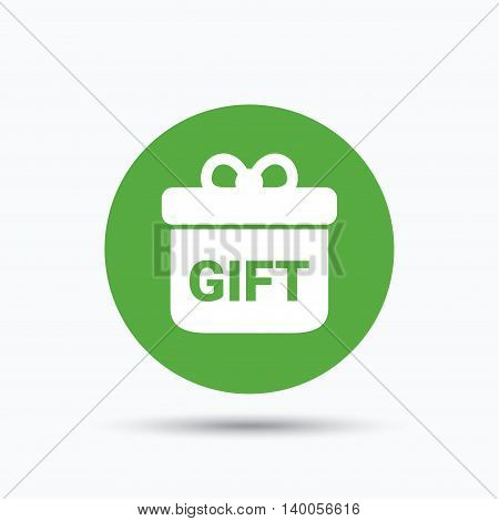 Gift icon. Present box with bow symbol. Flat web button with icon on white background. Green round pressbutton with shadow. Vector