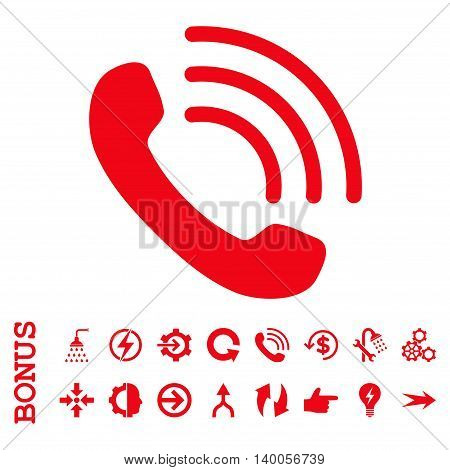Phone Call vector icon. Image style is a flat iconic symbol, red color, white background.
