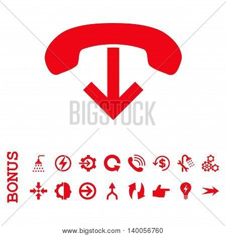 Phone Hang Up vector icon. Image style is a flat iconic symbol, red color, white background.