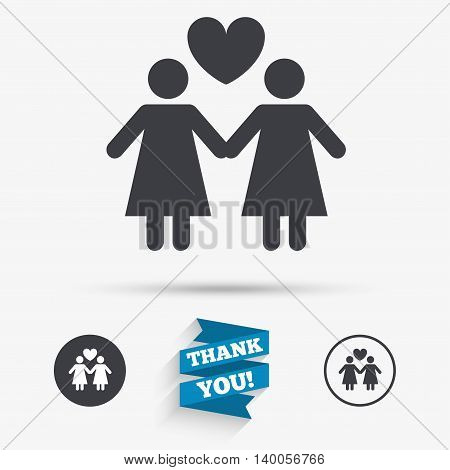 Couple sign icon. Woman love woman. Lesbians with heart. Flat icons. Buttons with icons. Thank you ribbon. Vector