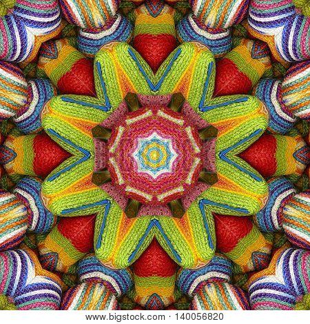 Abstract background colorful star pattern kaleidoscope sisal mandala wallet