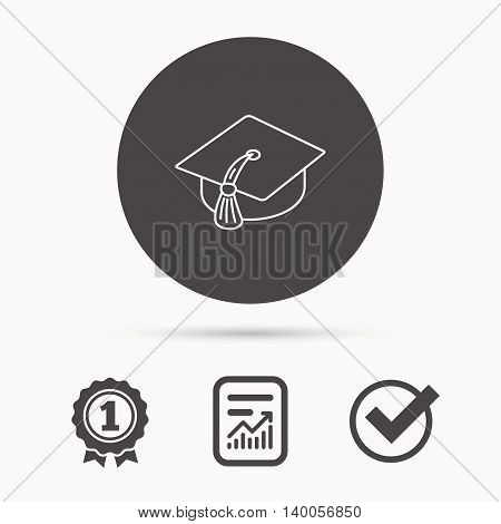 Graduation cap icon. Diploma ceremony sign. Report document, winner award and tick. Round circle button with icon. Vector