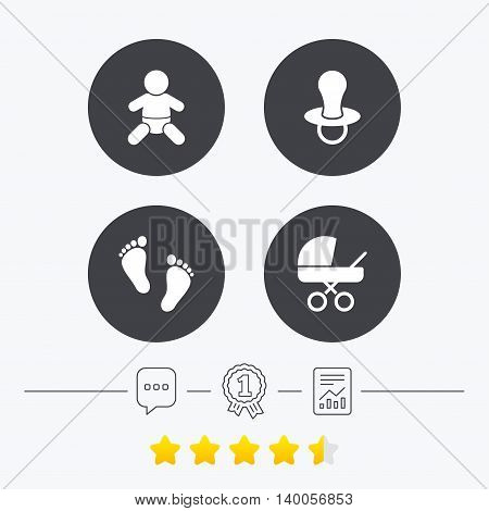 Baby infants icons. Toddler boy with diapers symbol. Buggy and dummy signs. Child pacifier and pram stroller. Child footprint step sign. Chat, award medal and report linear icons. Star vote ranking. Vector