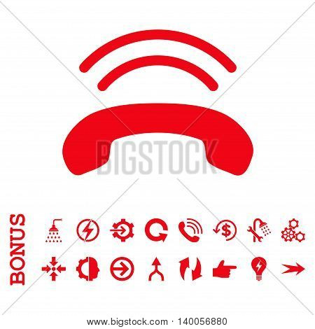 Phone Ring vector icon. Image style is a flat pictogram symbol, red color, white background.