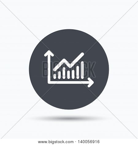 Graph icon. Business analytics chart symbol. Flat web button with icon on white background. Gray round pressbutton with shadow. Vector