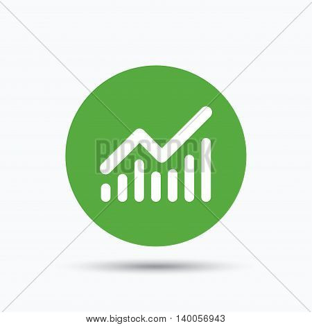 Graph icon. Business analytics chart symbol. Flat web button with icon on white background. Green round pressbutton with shadow. Vector