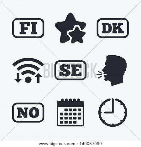 Language icons. FI, DK, SE and NO translation symbols. Finland, Denmark, Sweden and Norwegian languages. Wifi internet, favorite stars, calendar and clock. Talking head. Vector