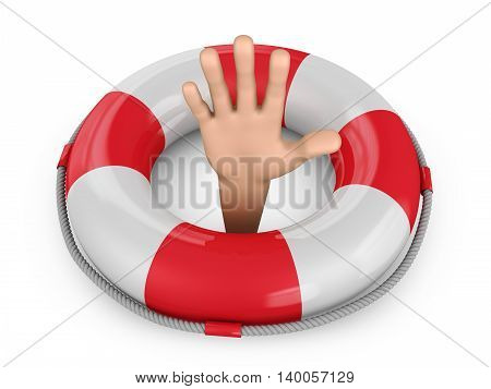 Human hand in a lifebuoy ring. 3d render.