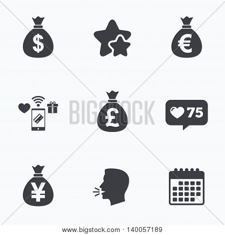 Money bag icons. Dollar, Euro, Pound and Yen symbols. USD, EUR, GBP and JPY currency signs. Flat talking head, calendar icons. Stars, like counter icons. Vector
