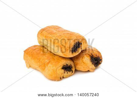 puff with poppy seeds on a white background