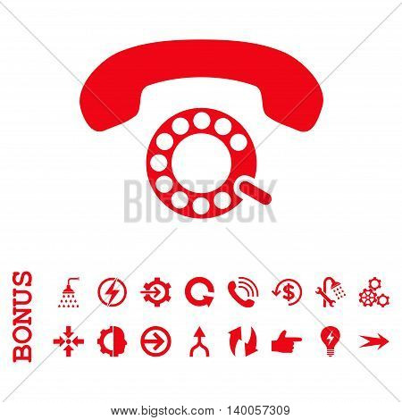 Pulse Dialing vector icon. Image style is a flat pictogram symbol, red color, white background.