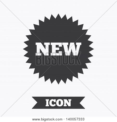New sign icon. New arrival star symbol. Graphic design element. Flat new symbol on white background. Vector