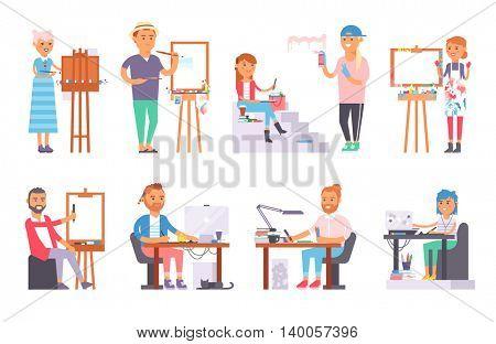 Artist creative people vector set.