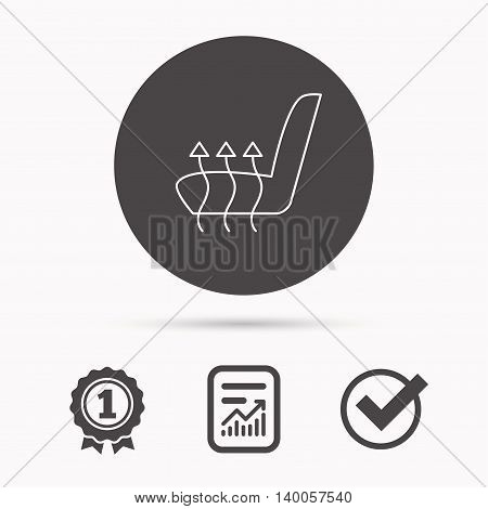 Heated seat icon. Warm autoarmchair sign. Report document, winner award and tick. Round circle button with icon. Vector