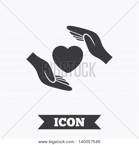 Life insurance sign icon. Hands protect cover heart symbol. Health insurance. Graphic design element. Flat insurance symbol on white background. Vector