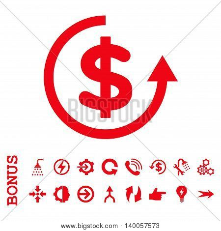 Refund vector icon. Image style is a flat iconic symbol, red color, white background.