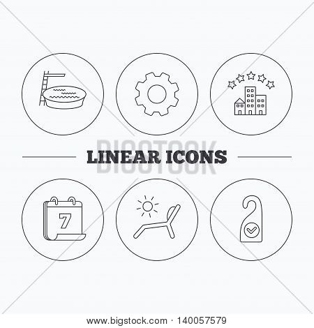 Hotel, swimming pool and beach deck chair icons. Clean room linear sign. Flat cogwheel and calendar symbols. Linear icons in circle buttons. Vector