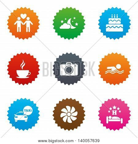 Hotel, apartment service icons. Swimming pool. Ventilation, birthday party and gay-friendly symbols. Stars label button with flat icons. Vector