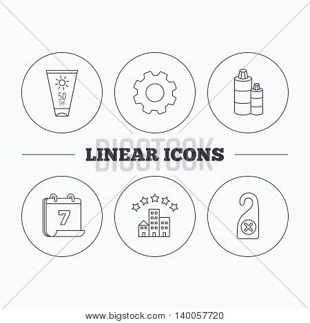 Hotel, shampoo and sun cream icons. Do not disturb linear sign. Flat cogwheel and calendar symbols. Linear icons in circle buttons. Vector
