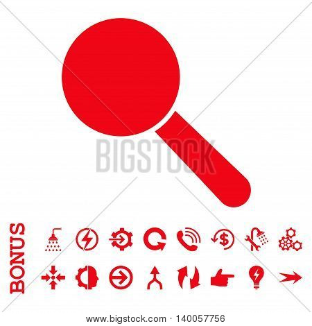 Search Tool vector icon. Image style is a flat pictogram symbol, red color, white background.
