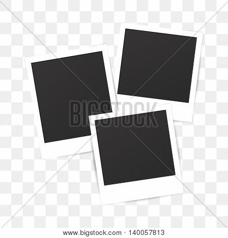 Blank set photo polaroid frame on transparent background. Shadow effect for your photography. Mockup for your photo. Retro photo picture. Scrapbook album decoration template