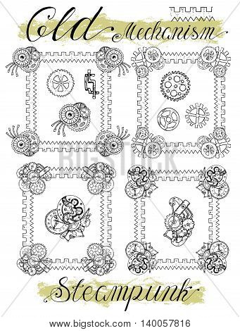 Set with retro mechanical frames in steampunk style. Fantasy engines, mechanisms and machines. Old technology concept. Sketch graphic illustration in doodle style with hand drawn elements