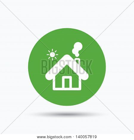 Home icon. House building symbol. Real estate construction. Flat web button with icon on white background. Green round pressbutton with shadow. Vector