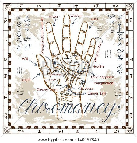 Chiromancy chart with palm, lines and mystic symbols. Human hand with fingers. Sketch illustration with mystic and occult hand drawn symbols. Halloween, astrological and esoteric concept