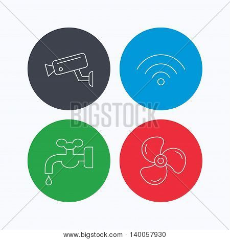 Wifi, video camera and ventilation icons. Water supply linear sign. Linear icons on colored buttons. Flat web symbols. Vector