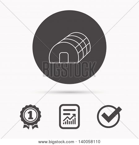 Greenhouse complex icon. Hothouse building sign. Warm house symbol. Report document, winner award and tick. Round circle button with icon. Vector