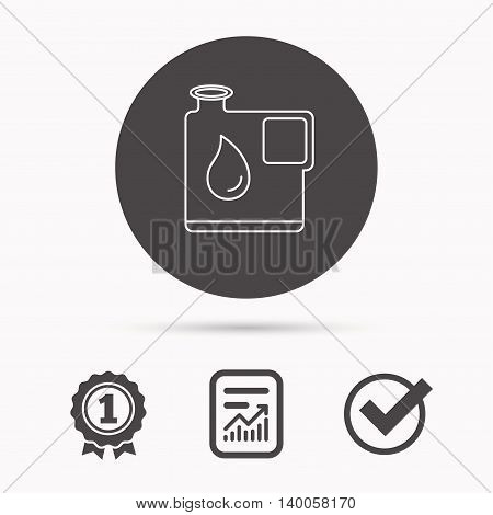 Jerrycan icon. Petrol fuel can with drop sign. Report document, winner award and tick. Round circle button with icon. Vector