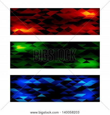 Creative Triangular Polygonal Colorful Mosaic Banners. Set of three different color themes red green and blue. Vector illustration