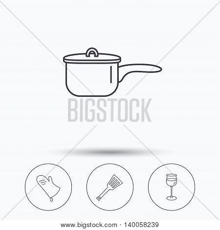 Saucepan, potholder and wineglass icons. Kitchen utensils linear sign. Linear icons in circle buttons. Flat web symbols. Vector