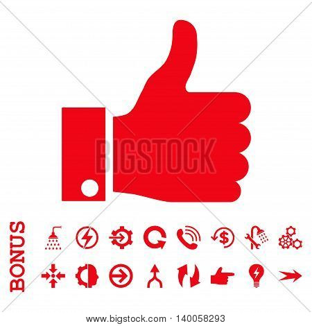 Thumb Up vector icon. Image style is a flat pictogram symbol, red color, white background.