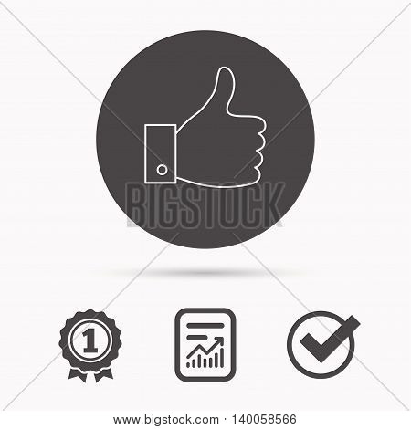 Thumb up like icon. Super cool vote sign. Social media symbol. Report document, winner award and tick. Round circle button with icon. Vector