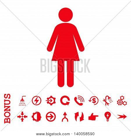 Woman vector icon. Image style is a flat pictogram symbol, red color, white background.