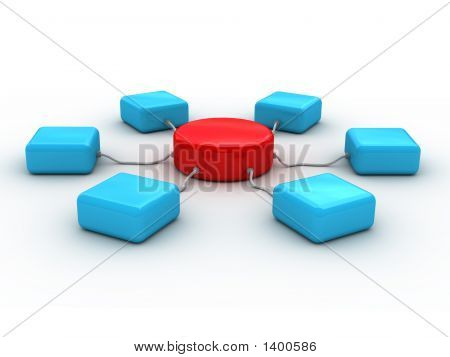 3D Network Concept (It Is Presented Red And Blue Color)