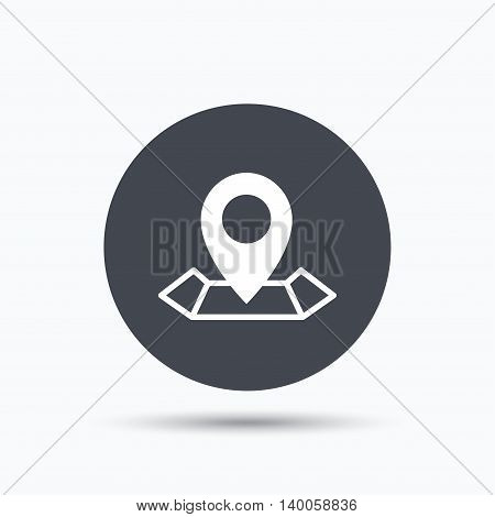 Location icon. Map pointer symbol. Flat web button with icon on white background. Gray round pressbutton with shadow. Vector