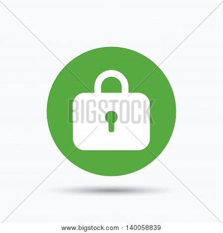 Lock icon. Privacy locker sign. Closed access symbol. Flat web button with icon on white background. Green round pressbutton with shadow. Vector