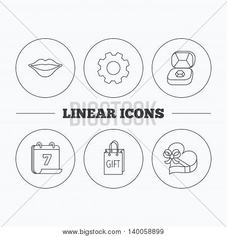Gift box, lips kiss and wedding jewelry icons. Present linear sign. Flat cogwheel and calendar symbols. Linear icons in circle buttons. Vector
